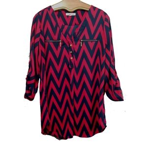 Wishful Park Red & Navy Blue Blouse XL